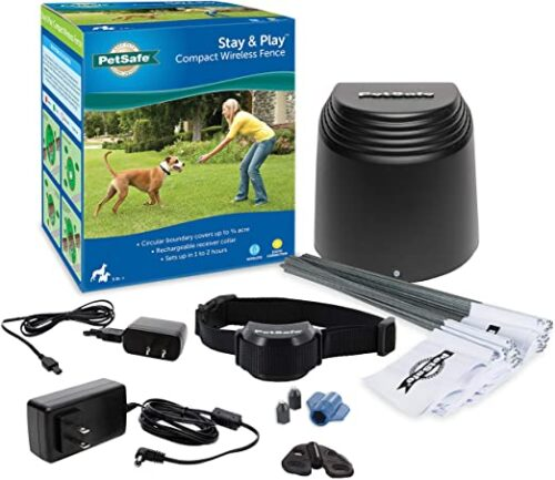 PetSafe Stay & Play Compact Wireless Fence for Dogs & Cats, Waterproof & Rechargeable, Above Ground Electric Fence