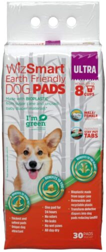 WizSmart Earth Friendly Premium Dog and Puppy Training Pads, Made with Recycled Unused Baby Diapers and Bioplastic from Sugar Cane by Petix Company
