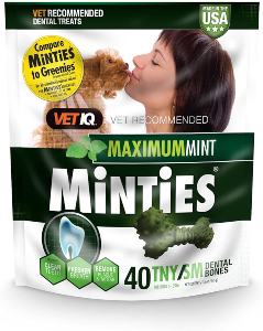 VetIQ Minties Dog Dental Bone Treats, Dental Chews for Dogs, (Perfect for Tiny / Small Dogs under 40 lbs), 40 Treats