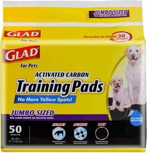 Glad for Pets JUMBO-SIZE Charcoal Puppy Pads | Black Training Pads That ABSORB & Neutralize Urine Instantly | New & Improved Quality, 50 Count
