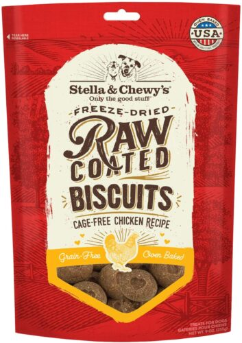 Stella & Chewy's Freeze-Dried Raw Coated Dog Biscuits Cage Free Chicken Recipe, 9 oz. Bag