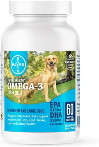 Free Form Snip Tips Omega-3 Fish Oil Liquid Supplement for Medium to Large Dogs, 60 Count