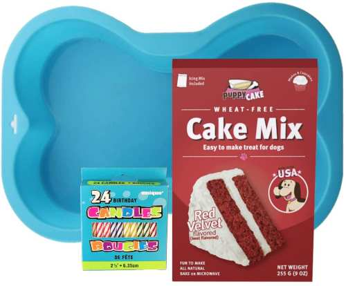 Puppy Cake Mix Dog Birthday Cake Kit in 5 Flavors, with Bone Silicone Pan and Candles