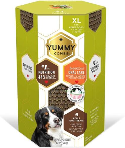 YUMMY COMBS Ingeniously Shaped Flossing Dog Dental Treats - Protein Formula Dental Chews XS,S,M,L,XL